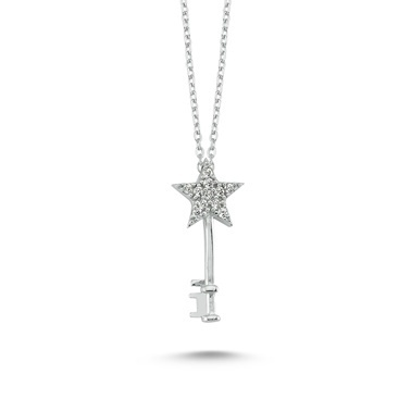 Online Takı Gümüş Anahtar Kolye Renkli